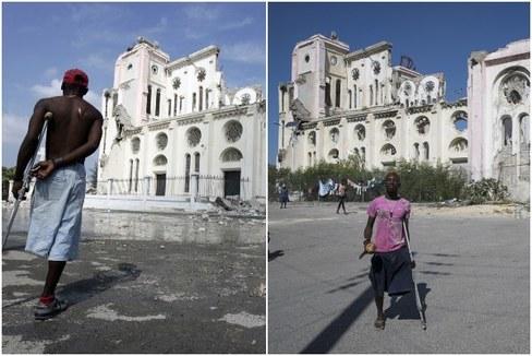 La catedral destruida, el 20 de enero de 2010, y (d) la misma catedral el 7 de enero de 2020, en Puerto Príncipe (Haití).