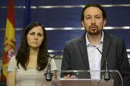 Ione Belarra y Pablo Iglesias, en una comparecencia pública.