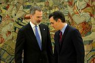 Su Majestad Felipe VI y el presidente Pedro Sánchez.