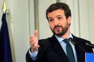 Pablo Casado, en un desayuno informativo celebrado este lunes en Madrid.