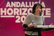Teresa Rodríguez, durante la conferencia celebrada este pasado fin de semana.