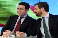 Teodoro García Egea y Pablo Casado, este lunes en la Junta Directiva Nacional del PP.
