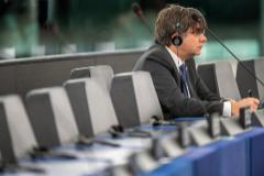 Carles Puigdemont, en su escaño del Parlamento Europeo este martes.