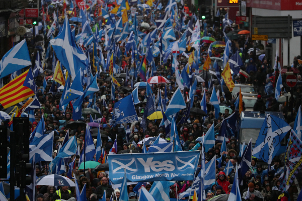 Demonstrators march for Scottish Independence through...