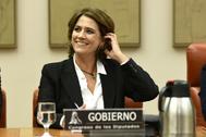 La nueva fiscal general del Estado, Dolores Delgado, en su comparecencia como ministra de Justica por el 'caso Villarejo', el 10 de octubre de 2018,en el Congreso.