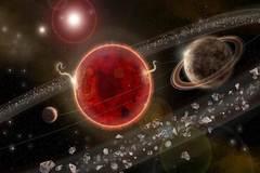 Recreación artística del sistema alrededor de la estrella Próxima Centauri