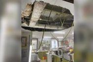 Detalle de donde se desprendió el techo.
