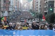Un momento de la manifestación por los presos del pasado sábado en Bilbao.