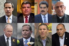 De izqda a dcha y de arriba a abajo: Juan Guaidó, Luis Parra, Nicolás Maduro, Víctor Hugo Basabe, Vladimir Putin, Juan Pablo Guanipa, Gilber Caro y Francisco Torrealba.