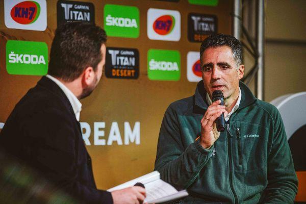 Miguel Indurain, durante la presentación de la Titan Desert, este jueves.
