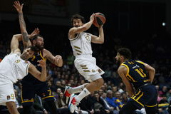 Moscow (Russian Federation).- Sergey Karasev (2nd-L) and Anthony Gill (R) of Khimki Moscow Region in action against Felipe Reyes (L) and Sergio Llull (C) of Real <HIT>Madrid</HIT> during the Euroleague basketball match between Khimki Moscow Region and Real <HIT>Madrid</HIT> in Moscow, Russia, 16 January 2020. (<HIT>Baloncesto</HIT>, Euroliga, Rusia, Moscú) EPA/