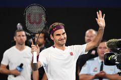Federer, durante su entrenamiento para Australia.