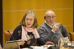 Los socialistas Alexia Castelo y José Antonio Pastor, en el debate en la Diputación Permanente.