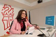 La vicepresidenta Mónica Oltra, en su comparecencia del viernes.