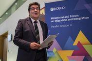 El ministro de Seguridad Social, José Luis Escrivá, en la reunión de la OCDE que tuvo lugar este viernes en París.