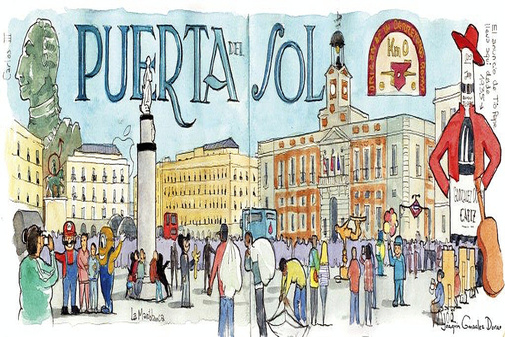 Acuarela de la Puerta del Sol