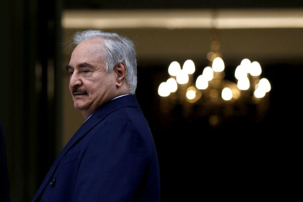 Greek Foreign Minister Nikos Dendias welcomes Libyan commander Khalifa...