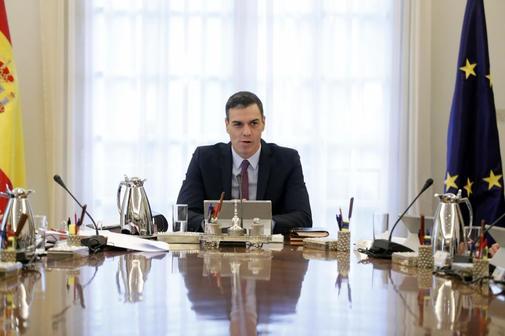 El presidente del Gobierno, Pedro Sánchez, en el primer Consejo de...