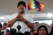 Evo Morales, durante la elección del candidato, este domingo en Buenos Aires.