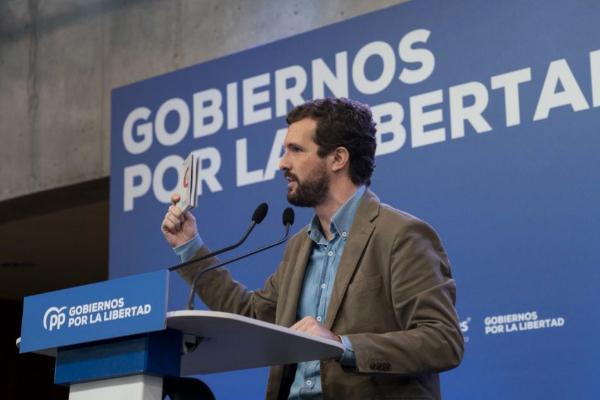 Pablo Casado interviene en un acto en Murcia este domingo.