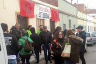 Imagen de una protesta por un desahucio en Castellón.