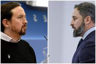 El vicepresidente Pablo Iglesias y el líder de Vox, Santiago Abascal.