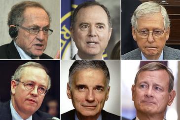 De izqda a dcha, Alan Dershowitz, y debajo, Kenneth Star (defensa); Adam Schiff y, debajo, Ralph Nader (acusación); Mitch McConnel y John Roberts (jueces).
