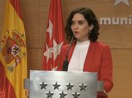 Isabel Díaz Ayuso, en la rueda de prensa de hoy.