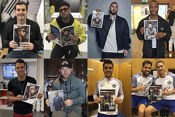 De izda. a dcha., y de arriba abajo: Iker Casillas, Dani Álves, Karim Benzema, Raheem Sterling,Thiago Silva, Wayne Rooney, Álvaro Morata, Cesc Fàbregas y Eden Hazard.