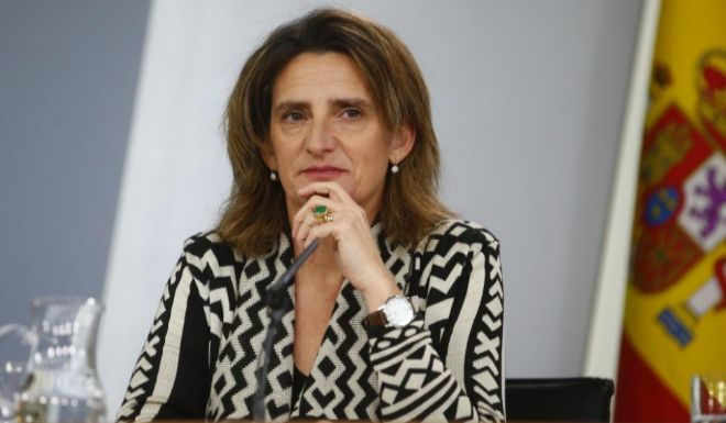 Teresa Ribera, vicepresidenta cuarta y ministra de Transición Ecológica, en la rueda de prensa