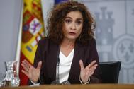 María Jesús Montero, en rueda de prensa tras el Consejo de Ministros.