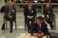 Josep Lluís Trapero, en un momento de su declaración en la Audiencia Nacional.