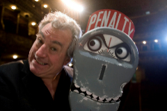 "FILE PHOTO: Former Monty Python <HIT>Jones</HIT> poses next to ""the parking meter from hell"" before an interview with Reuters in Lisbon"