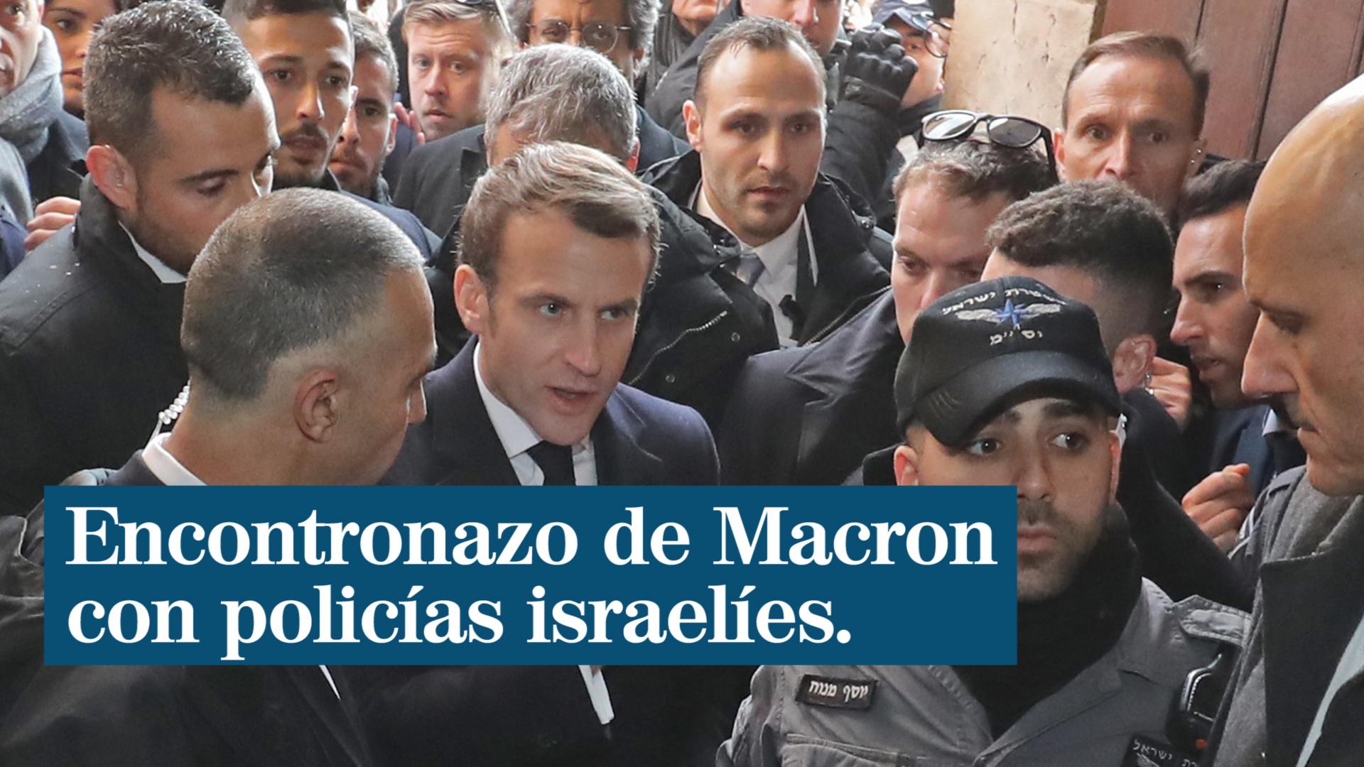 Emmanuel Macron abronca a agentes de seguridad israelíes en su visita a una iglesia francesa en Jerusalén