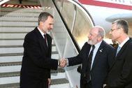 Felipe VI, a su llegada el miércoles al aeropuerto de Jerusalén, donde asistirá al V Foro Mundial sobre el Holocausto