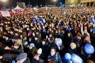 Concentración del Movimiento de las Sardinas en Bolonia, Emilia-Romagna.