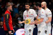 Vienna (Austria).- Players of <HIT>Spain</HIT> react during the EHF <HIT>Handball</HIT> Men European Championship main round match between Croatia and <HIT>Spain</HIT> in Vienna, Austria, 22 January 2020. (Balonmano, Croacia, España, Viena) EPA/