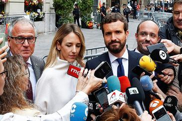 Josep Bou, Cayetana Álvarez de Toledo, Pablo Casado y Alejandro Fernández, el pasado octubre en Barcelona.