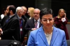 Arancha González Laya, ministra de Exteriores, en una reunión en Bruselas.