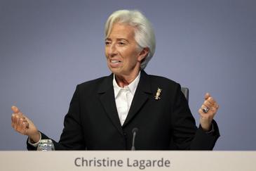 La presidenta del BCE, Christine Lagarde, tras la reunión de este jueves en Fráncfort.