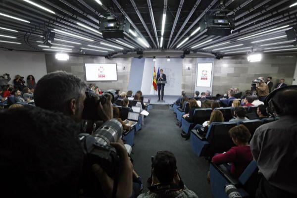 Pedro Sánchez, en la rueda de prensa que ofreció en Moncloa tras el...