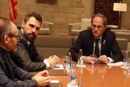 Roger Torrent y Quim Torra, en la reunión de partidos independentistas celebrada en Barcelona el pasado día 10.