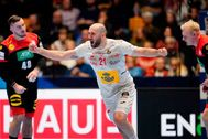 Trondheim (Norway).- Spain?s Joan <HIT>Canellas</HIT> Reixach reacts during the preliminary round match between Spain and Germany at the EHF Handball Men European Championship in Trondheim, Norway, 11 January 2020. E (Balonmano, Alemania, Noruega, España) EPA/ NORWAY OUT