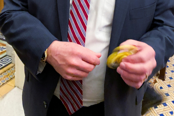 U.S. Senator <HIT>Rounds</HIT> plays with fidget spinner handed out to...
