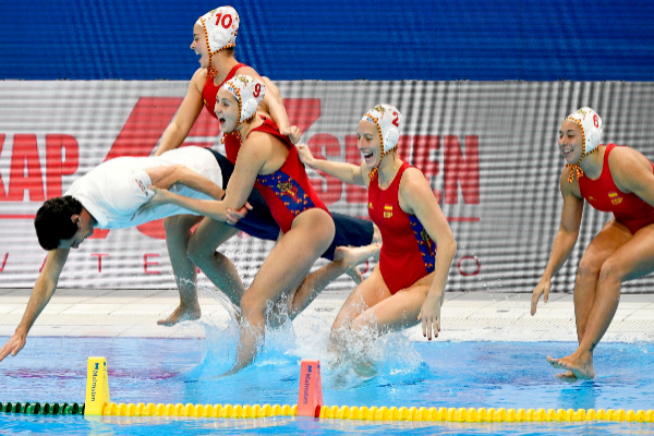 Budapest (Hungary).- <HIT>Spain</HIT>'s head coach Miquel Oca (L) and his players celebrate after winning the women's European <HIT>Water</HIT> <HIT>Polo</HIT> Championship final between Russia and <HIT>Spain</HIT> in Budapest, Hungary, 25 January 2020. (Hungría, Rusia, España) EPA/ HUNGARY OUT