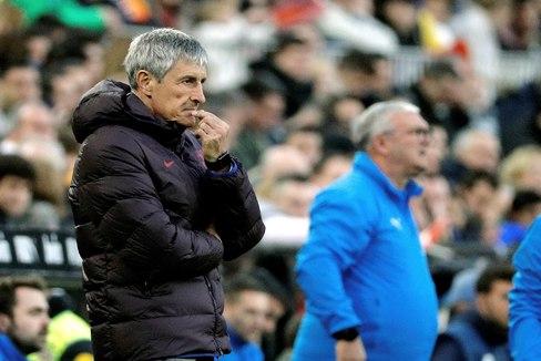 Quique Setién, el sábado en Mestalla.