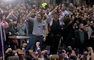 Pablo Iglesias y Juan Carlos Monedero, en un acto electoral en Madrid el pasado año.