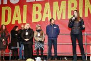 Matteo Salvini, con la candidata de la Liga para Emilia-Romagna en Bibbiano.