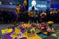 Homenaje a Kobe Bryant, estrella de la NBA muerto este domingo en un accidente de helicóptero.