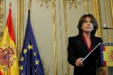 Dolores Delgado, durante el acto de toma de posesión del nuevo ministro de Justicia, Juan Carlos Campo.